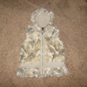 Jessica Simpson Faux Fur Vest Hoodie M